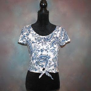 Paisley Print Short Sleeve Cotton Crop Top